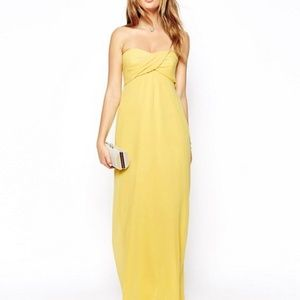 ASOS Petite Bandeau Maxi Dress Yellow Size 10